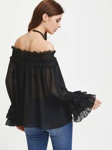 Shirred Off The Shoulder Layered Cuff Semi Sheer Top pictures