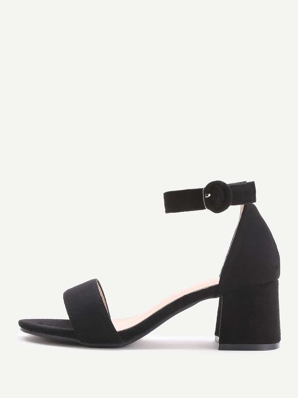 46261a974cbb Black Two Part Block Heel Sandals -SheIn(Sheinside)