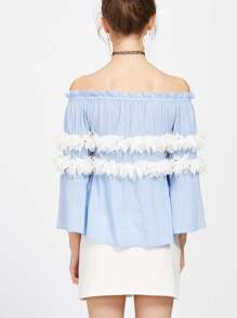 Blue Contrast Applique Flower Trim Off The Shoulder Top pictures