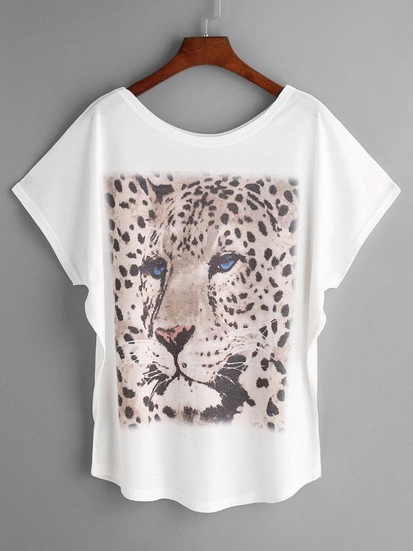 c2c588115 White Leopard Print Dolman Sleeve T-shirt | SHEIN UK