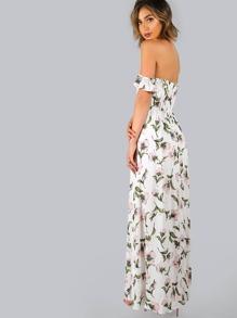 Robe Fleur-print et l air de l épaule - Blanc-French SheIn(Sheinside) 012f91d967ed