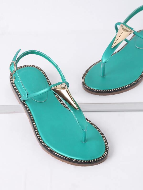 906ee8f53c443 Turquoise Metal Detail Thong Sandals -SheIn(Sheinside)