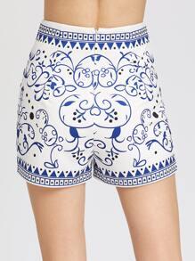 Shorts mit aufgedruckten Reißverschluss hinten - blau Bilder