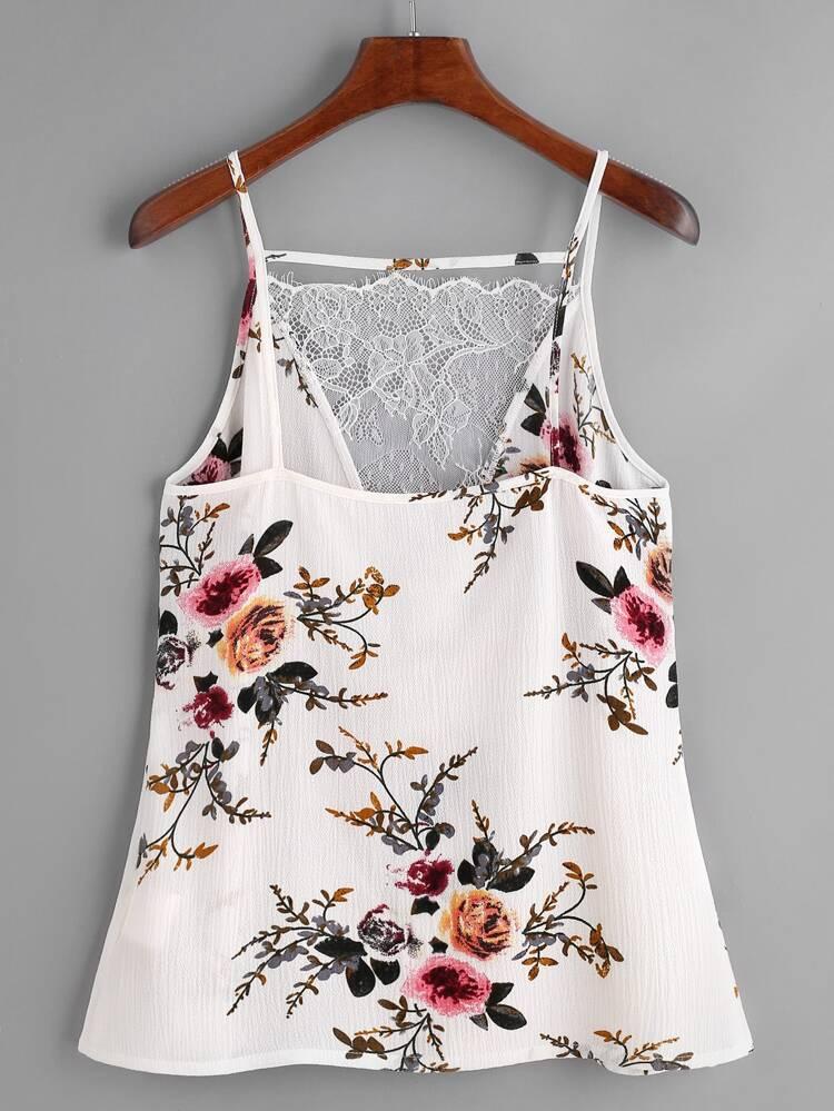 c040edbe7 Top con estampado floral con cuello en V con encaje - blanco