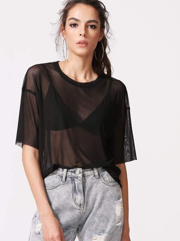 ce3478e3b2 Drop Shoulder Boxy Sheer Mesh Top | SHEIN UK