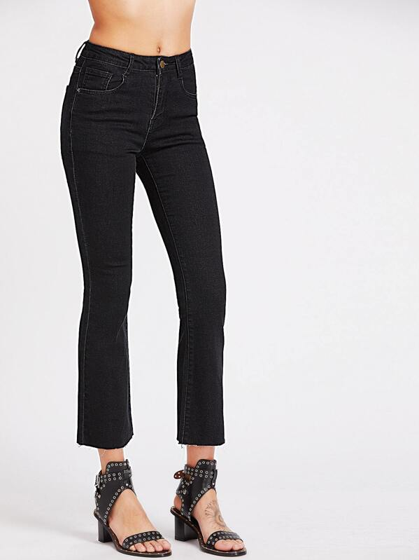7aa5fb9e1d Raw Hem Crop Flare Jeans | SHEIN