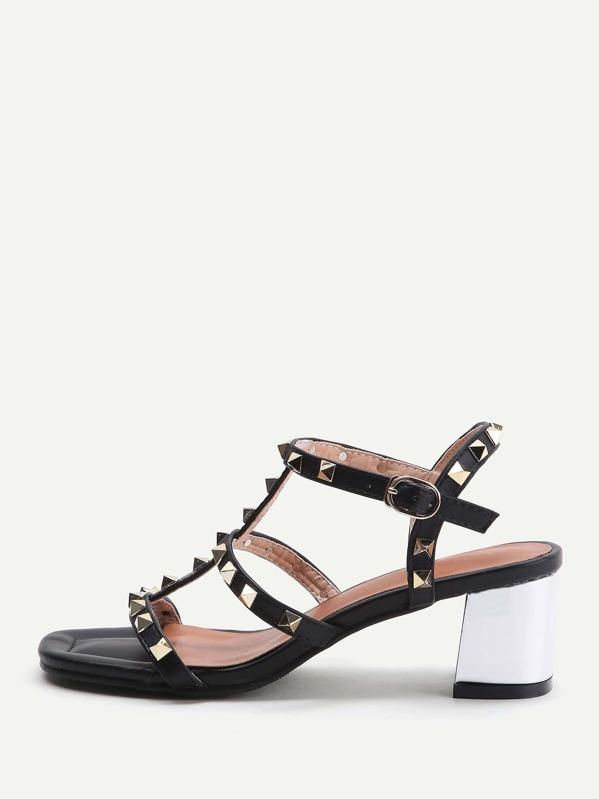 49a7478cda1 Black Studded Block Heeled Gladiator Sandals