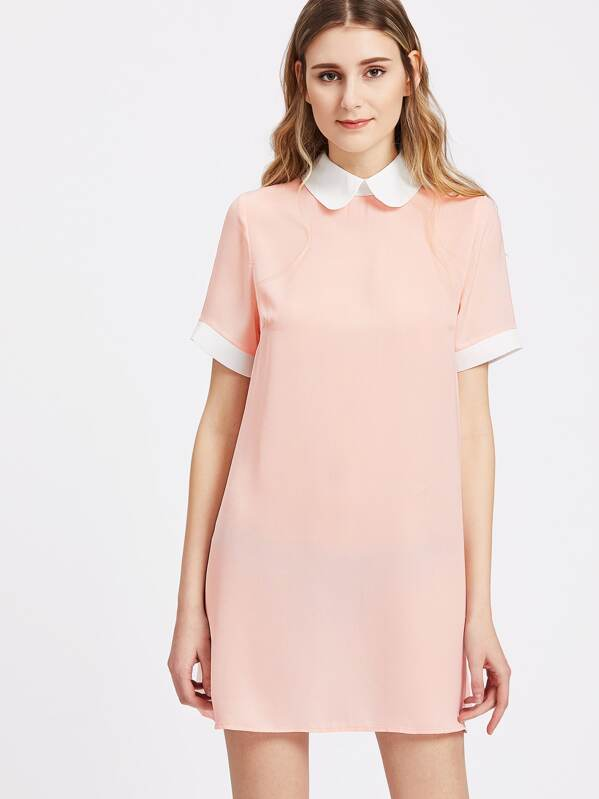 53ce2439de ... save off bd33f 5adcc Contrast Peter Pan Collar And Cuff Shift Dress  -SheIn(Sheins ...