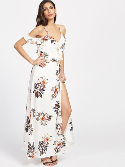 Frill Trim Open Tie Back Slit Dress