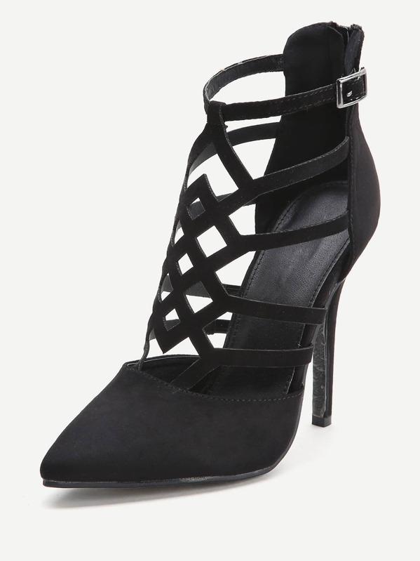 ef1af488dc5 Black Cutout Zipper Back Stiletto Heels