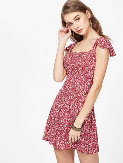 Calico Print Cross Tie Back Dress