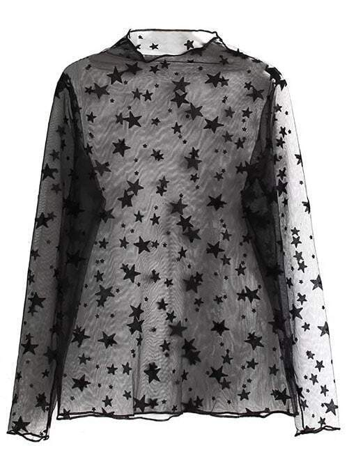 9bb6cb9c1b80 Black Star Print Long Sleeve Sheer Blouse