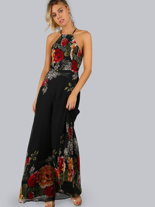 d19703ed8f Floral Halter Open Back Maxi Cami Dress | SHEIN