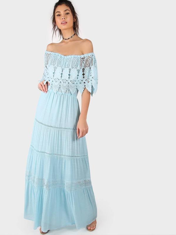 cb2c859f94cb Off Shoulder Tiered Lace Maxi Dress AQUA