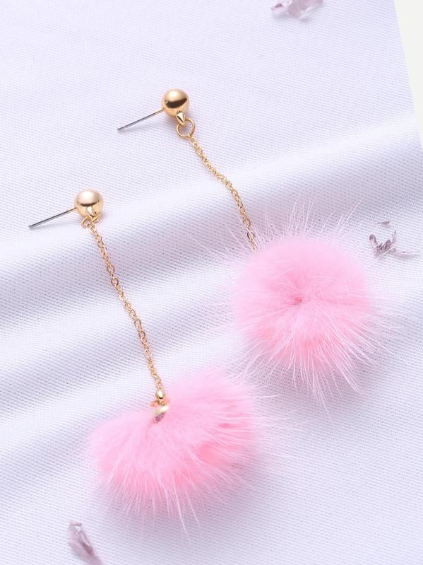 26e7144fd69cb8 Pink Pom Pom Drop Earrings   SHEIN