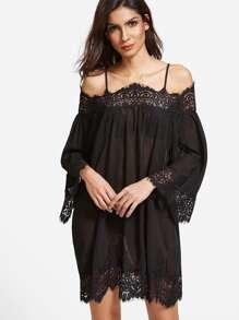 Floral Lace Trim Cold Shoulder Semi Sheer Dress pictures