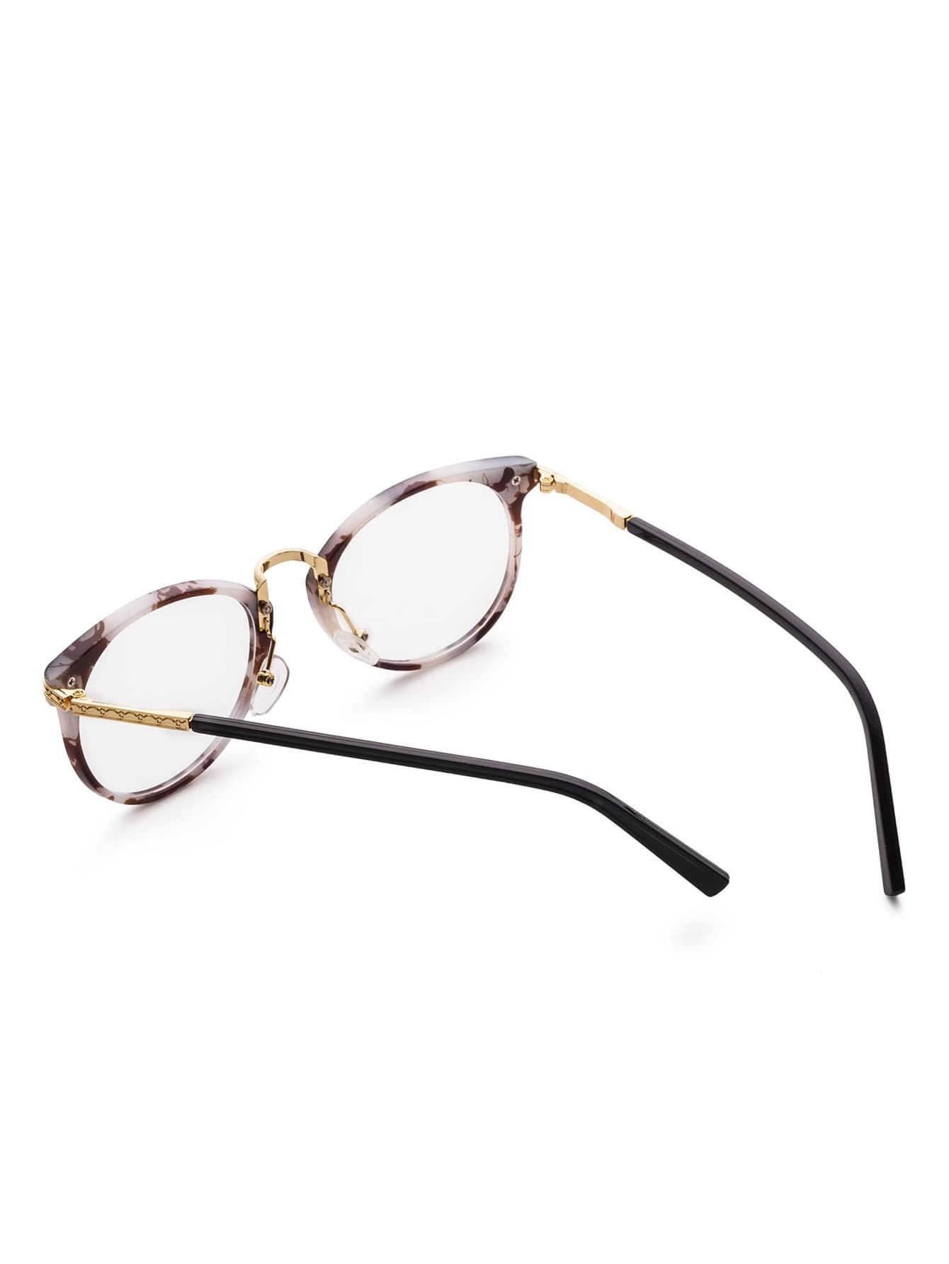 Marble Frame Metal Arm Clear Lens Glasses -SheIn(Sheinside)