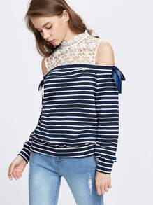 Striped Contrast Floral Lace Open Shoulder Sweatshirt pictures