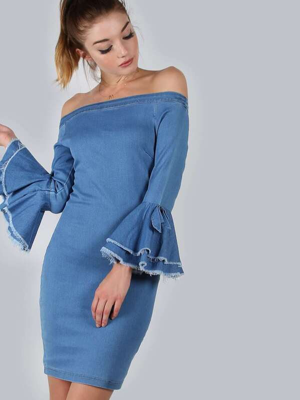 7dbcd49e8410 Off Shoulder Bell Sleeve Denim Dress CHAMBRAY