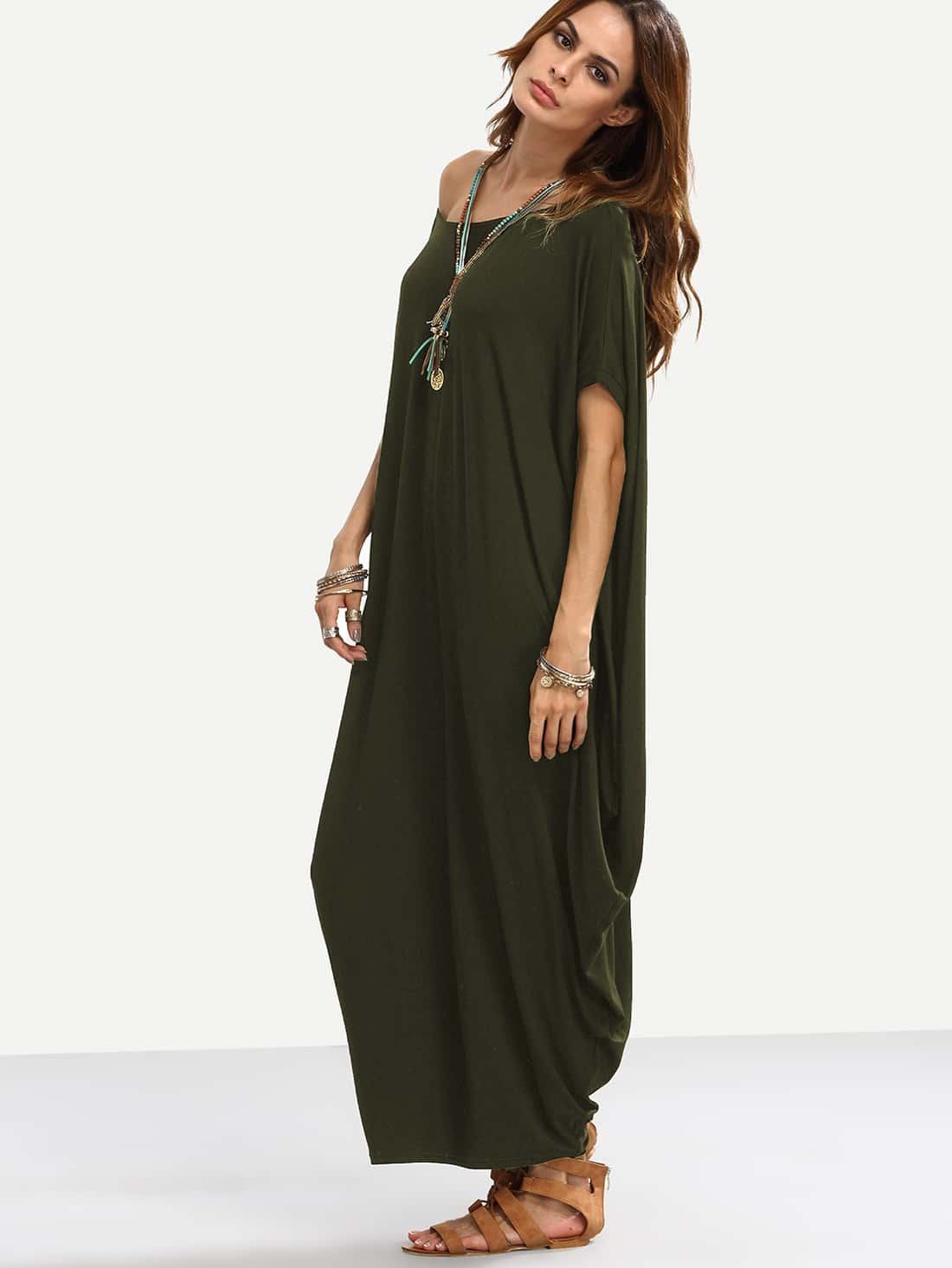Asymmetric shoulder dolman sleeve draped cocoon dress for Dolman sleeve wedding dress
