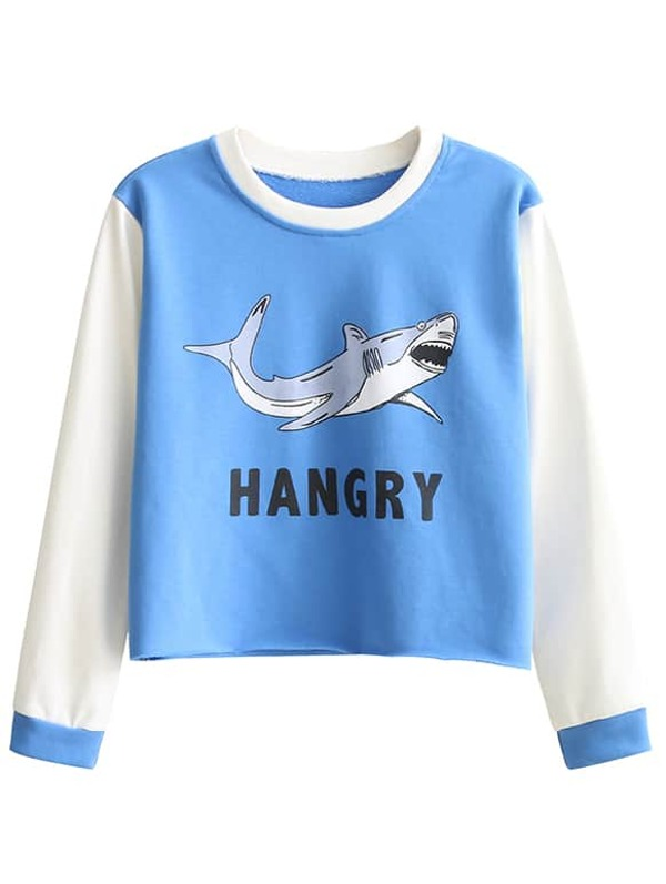 3aa94366d4 Blue And White Shark Print Sweatshirt   SHEIN