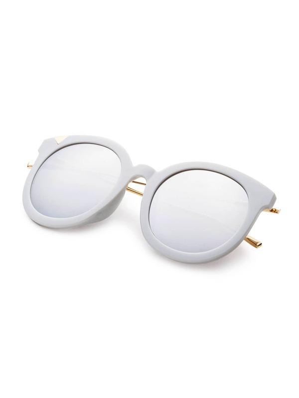 5a9ed81192 Grey Frame Metal Arm Clear Lens Sunglasses -SheIn(Sheinside)