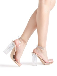 1ecccd128f4e Ankle Strap Chunky Heeled Clear Sandals