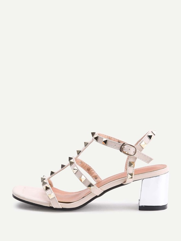 af9b32745ae Apricot Studded Block Heeled Gladiator Sandals