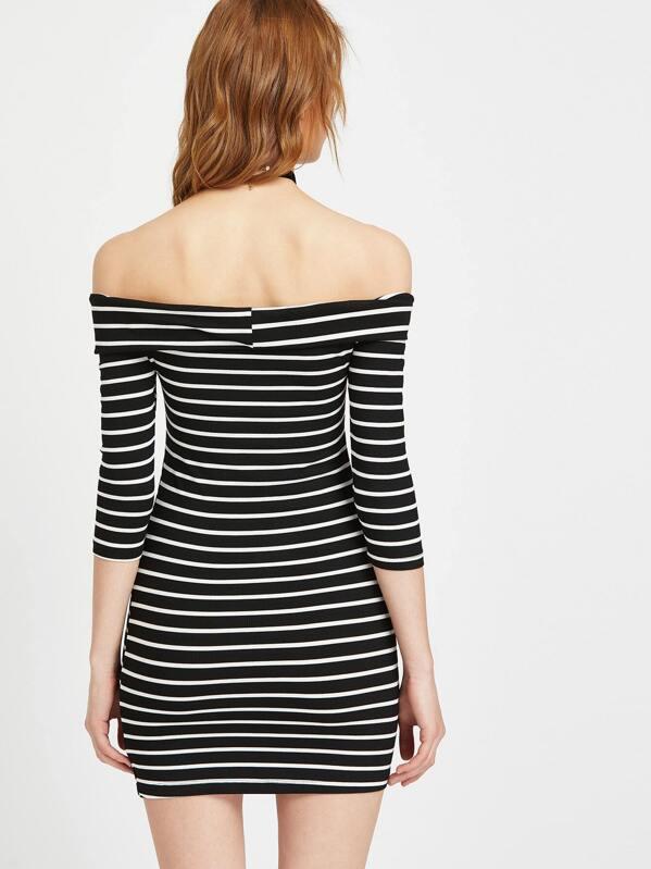 4e509f78cfdc Cheap Black And White Striped Off The Shoulder Bodycon Dress for sale  Australia