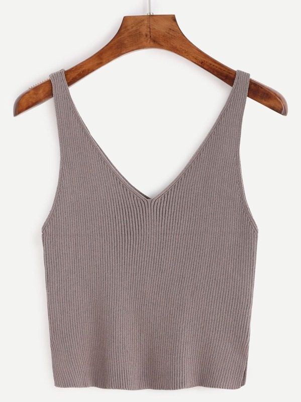 bf428d50cc2f2c Double V Neck Slit Ribbed Knit Tank Top