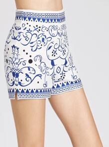 Shorts con estampado espalda con cremallera - azul blanco fotos