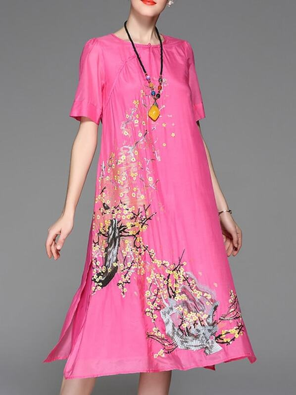 8c84931a88 Vestido recto bordado de flores-rosa clara   SHEIN ES