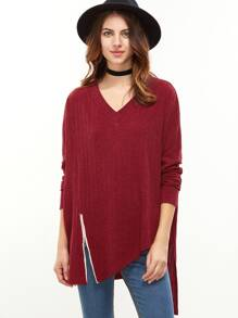 gerippte T-shirt Drop Schulter Reißverschluss Schlitz Vorne Asymmetriche-rot  Bilder