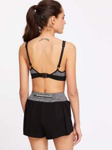 Contrast Marled Knit Sports Bra And Shorts Set pictures