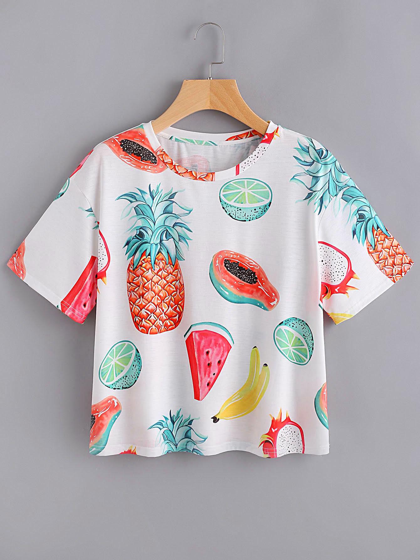 Allover Fruit Print T Shirt Sheinsheinside