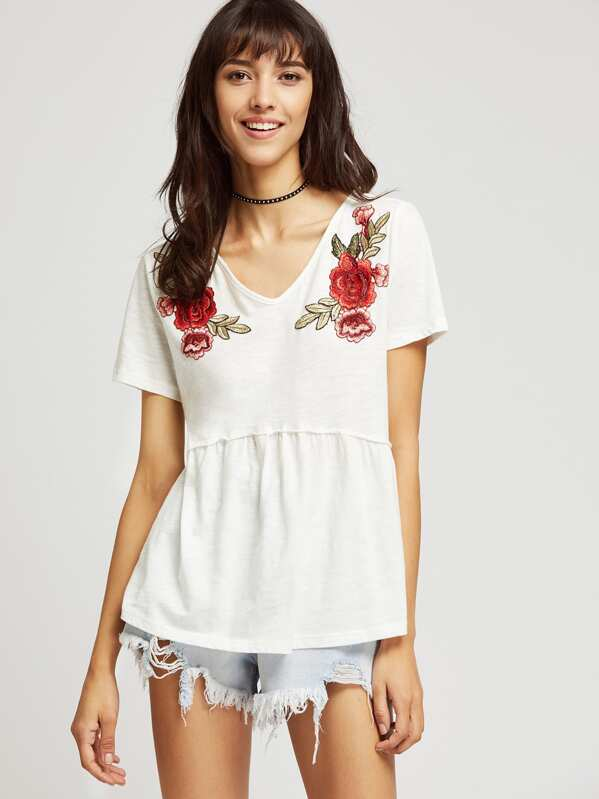 29a64a7420 Embroidered Applique Seam Slub Tee | SHEIN