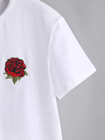 rose embroidered t shirt eXwEs