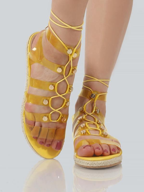 436dcdb6873 Transparent Gladiator Sandals YELLOW