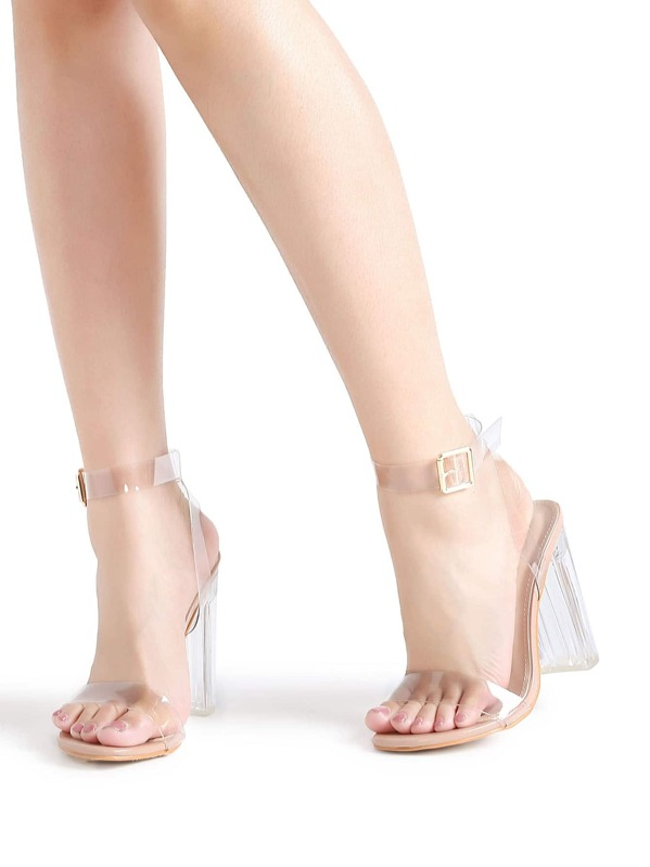 5210bf73ee1 Ankle Strap Chunky Heeled Clear Sandals