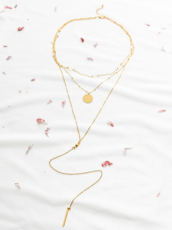 1bc7ca2b1b Gold Layered Bar Pendant Necklace | SHEIN UK