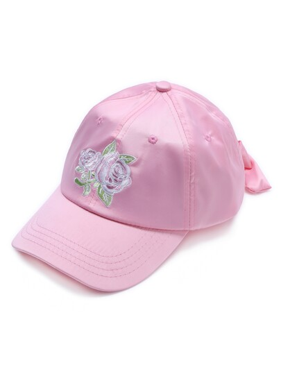 Pink Rose Embroidery Baseball Cap