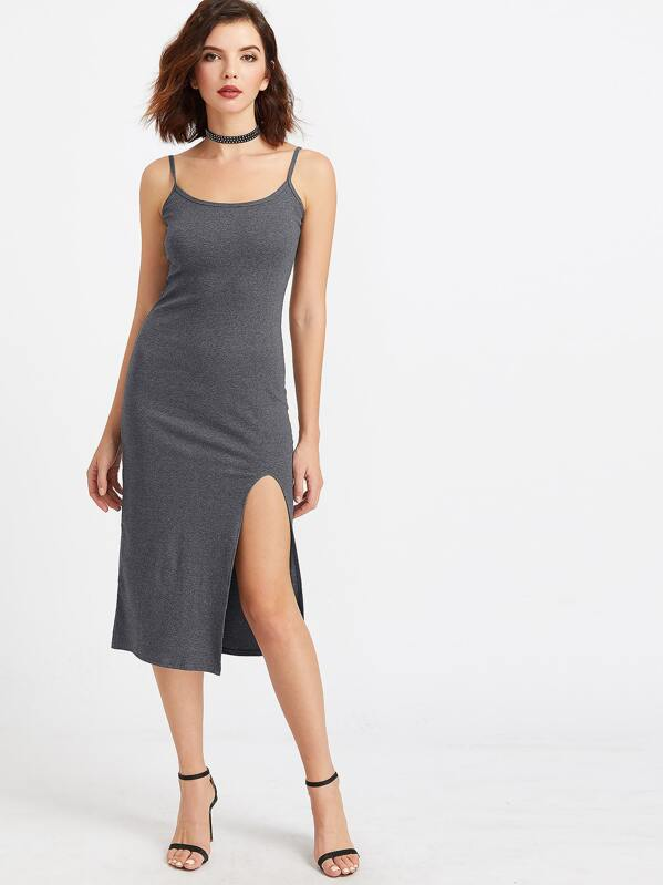 fb688da8ecec Dark Grey Strappy Back Slit Hem Slip Dress | SHEIN