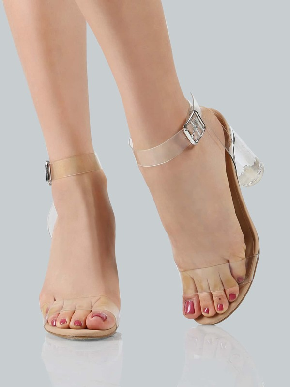 7e93892aa34 Clear Ankle Wrap Strap Heels CLEAR