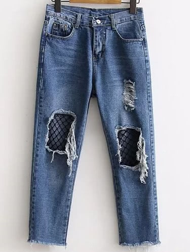 6d80d86f02 Cheap Blue Contrast Mesh Ripped Detail Jeans for sale Australia | SHEIN