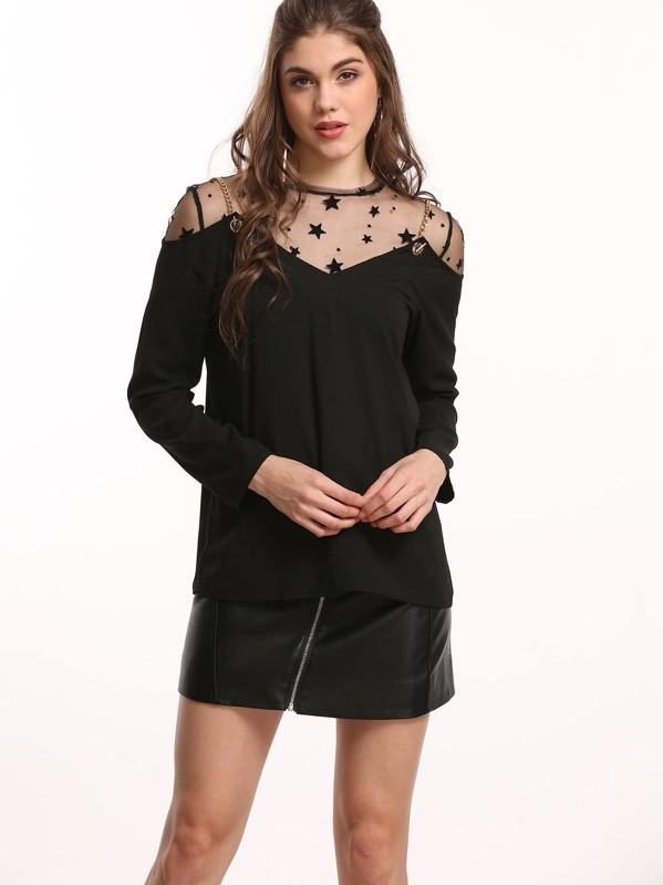 e546d554530b41 Black Star Mesh Top With Chain Strap Cold Shoulder Top | SHEIN UK