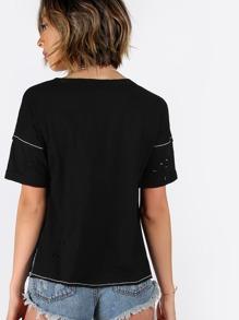 Black Graphic Print Cutout V Neck T-shirt pictures