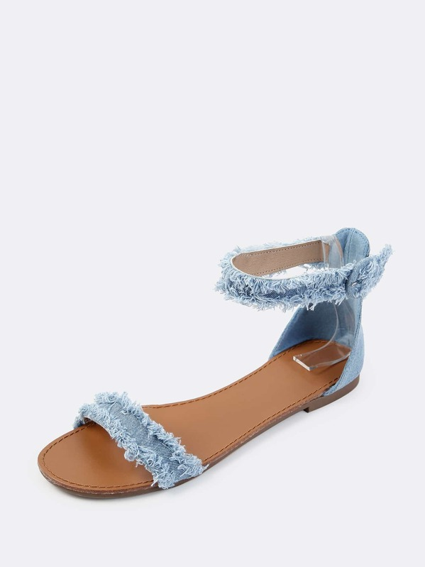 865764f375f Frayed Denim Flat Sandals BLUE DENIM