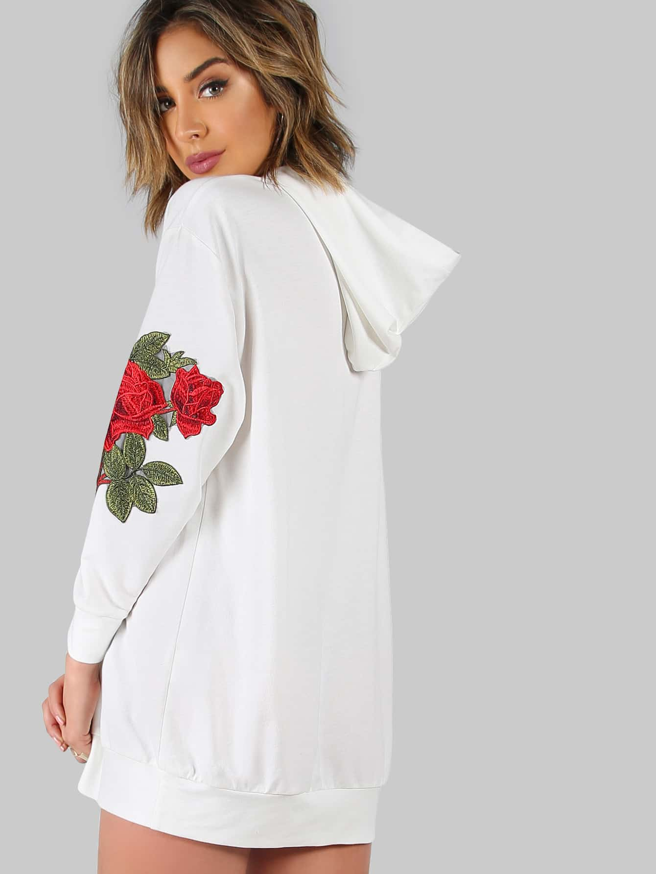 Rose Applique Drop Shoulder Oversized Hoodie Dress -SheIn(Sheinside)