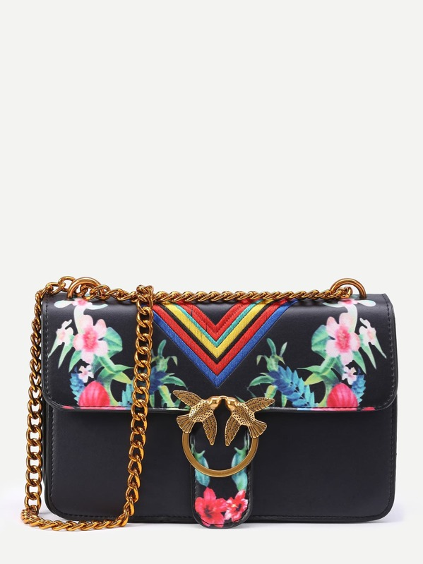 baebdadbbdf54 Floral Print Chevron Embroidery Flap Bag With Bird | SHEIN