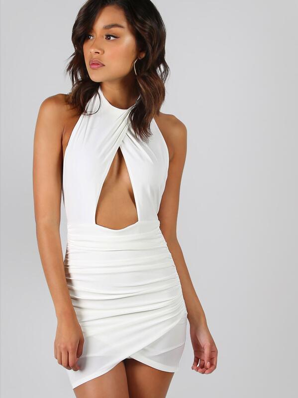 4db272e6ed Backless Ruched Peakaboo Halter Dress | SHEIN